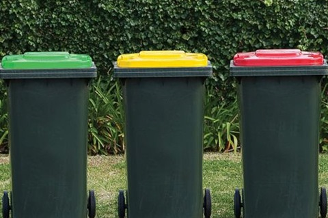 organics, recycling and landfill bins