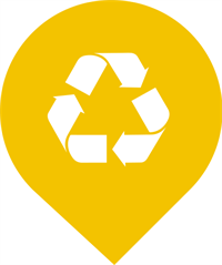 yellow circle with recycling symbol