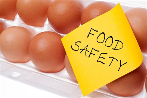 Eggs with a note saying food safety