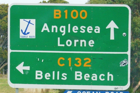 Road sign for Anglesea, Lorne and Bells