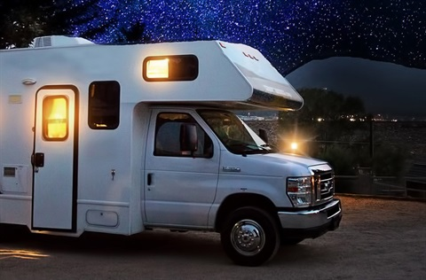 RV under a night sky