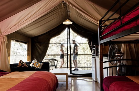 inside a glamping tent