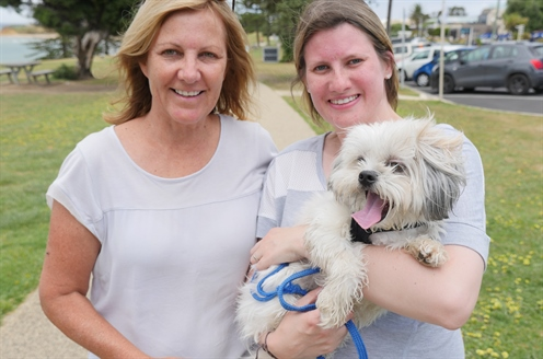 dog park survey pic 2 - Tracey, Monique and Skeeter.JPG